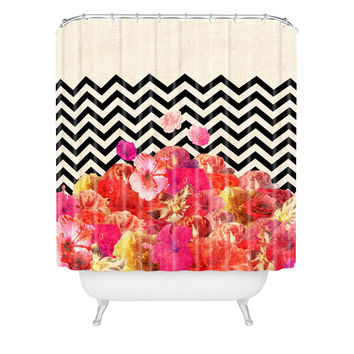 Bianca Green Chevron Flora 2 Shower Curtain