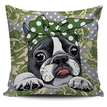 Floral Boston Terrier Green Pillow Cover