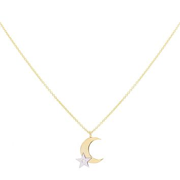 Diamond Connected Moon & Star Necklace 14K