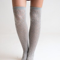 Grey Knee High Boot Socks