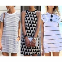 Boho Womens Striped Short Mini Dress Short Sleeve Loose Summer Long Tops Blouse