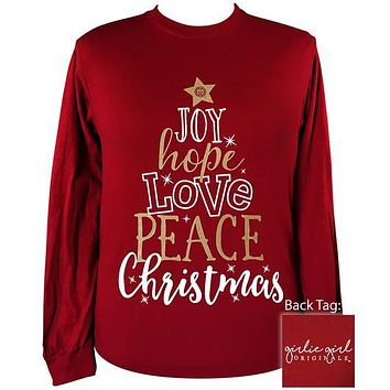 Girlie Girl Originals Preppy Joy Hope Love Peace Christmas Long Sleeve T-Shirt