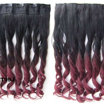 """Dip dye hairpieces New Fashion 24"""" Women Clip in on gradient wig Bath & Beauty Hair Ombre Hair Extensions Two Tone Curly Hair Gradient Hair Extension Colorful Hairpieces GS-888 2T99J,1PCS"""