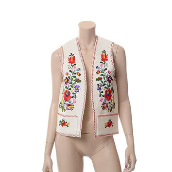 Vintage 60s 70s Rainbow Embroidered Floral Vest 1960s 1970s Hungarian Folk Flowers Carnaby Street Hipster Romanian Wool Felt Jacket Gilet