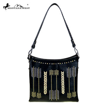 Arrows Collection Black Hobo/Crossbody Bag by Montana West MW447-8362
