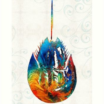 'Colorful Horseshoe Crab Art by Sharon Cummings' Art Print by Sharon Cummings
