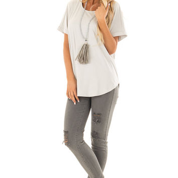 Cloudy Sage Faux Suede Top with Cuffed Sleeves