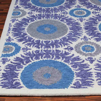 Bohemia Floral Blue 5 x 8 Handmade Floral Persian Style Wool Area Rug