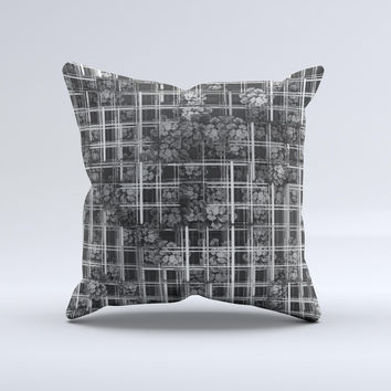 Grayscale Lattice and Flowers ink-Fuzed Decorative Throw Pillow