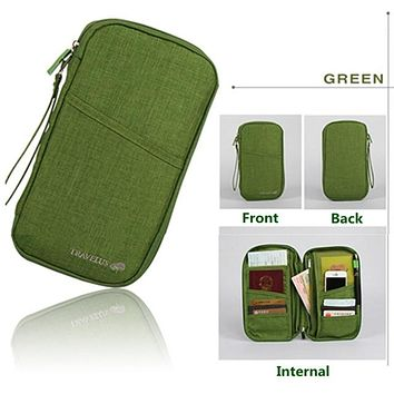 GREEN Travel Journey Document Organizer Wallet Passport ID Card Holder Ticket Credit Card Bag Case