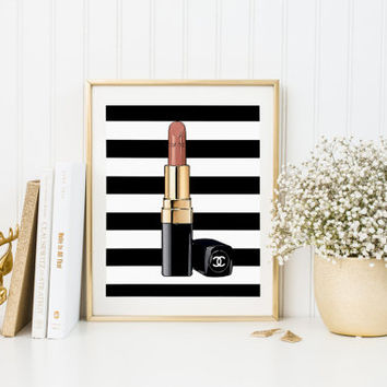 Chanel Print Chanel Lipstick Illustration Print Abstract Art Wall Decor  Poster Watercolor Coco Chanel Poster Lips Paris Modern Fashion