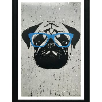"""Pug Art Poster with Blue Glasses - 13x19"""""""