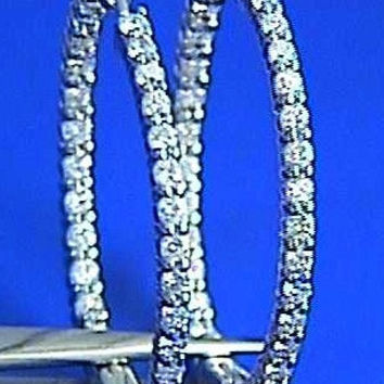 5.80ct Diamond Hoop Earrings 18kt white Gold In and Out JEWELFORME BLUE