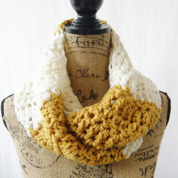 Ready To Ship The Reagan Mustard Gold Ivory Off White Crochet Infinity Scarf Cowl Chunky Neck Warmer