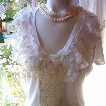 mon ami lace t shirt vintage french lace white cream ruffled ruffle ruffles top blouse large valentines day gift for her