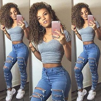 Women Ladies Clothing Pants Hole Ripped Knee Skinny Jeans Womens High Waisted Jeans 6 8 10 12 14 16