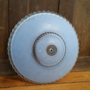 Vintage Blue Glass Dome Style Ceiling Light Shade Diffuser Globe