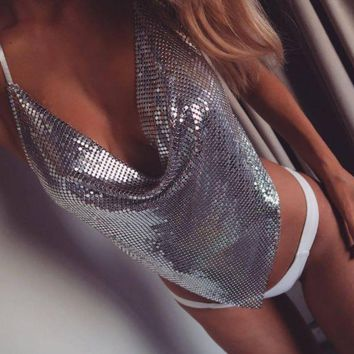 DCCK8H2 Sexy Low-cut Sling Backless Sequin Shirt