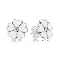 PANDORA | Primrose silver stud earrings with cubic zirconia and white enamel