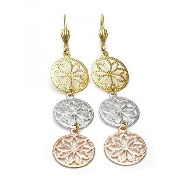 Gold Layered 5.069.011 Long Earring, Flower Design, Diamond Cutting Finish, Tri Tone