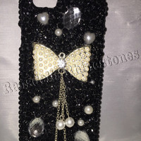 iPhone 6 cell phone case, pearl cell phone case, bow cell phone case, black iphone 6 cell phone case, cell phone case with pearls,