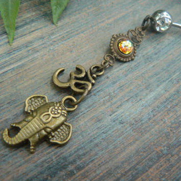 Ganesha belly ring  spiritual belly ring zen elephant ohm Topaz in yoga boho gypsy belly dancer style