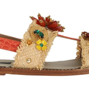 Multicolor Crystal Paglia Crocodile Sandals