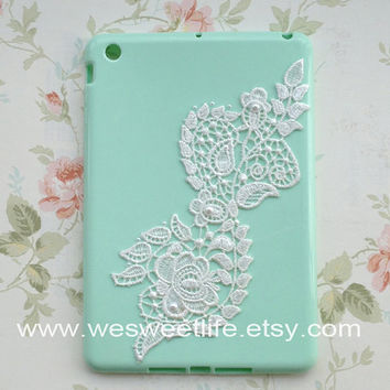 iPad mini Case Vintage Lace with Pearl mint green by wesweetlife