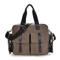 Vere Gloria Canvas Casual Retro Shoulder Bags for Men Women Multicam Travel Hiking Daypack Large Capacity Crossbody Bag Fit for 15 Inch Laptop