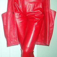 Sale - 70s LAMBSKIN LEATHER Red Pant Coat Suit