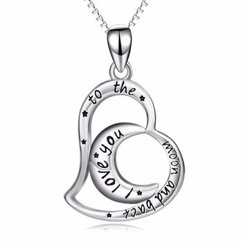 925 Sterling silver I Love You To The Moon And Back pendants necklace