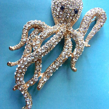 Clear Pave Rhinestone Octopus Brooch, Gold Tone, Sea Life Vintage