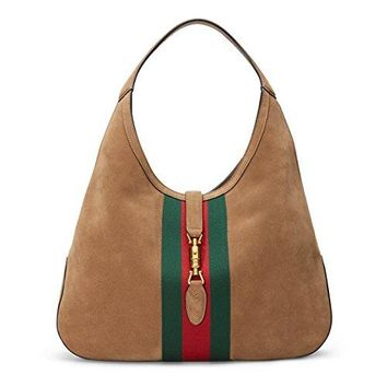 Gucci Brown Soft Suede Web Stripe Jackie Shoulder Hobo Bag