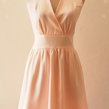 Pale Peach Bridesmaid Dress Fit and Flare party Dress, Peach Dress Elegant Wedding Party Dress, Peach Pink Prom Evening Dress - XS-XL,custom
