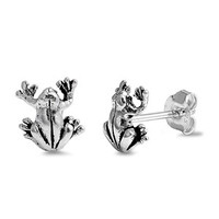 Sterling Silver Frog Stud Earrings 9MM