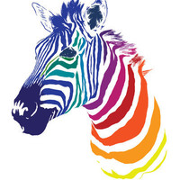 Rainbow Zebra Art Print by Olechka | Society6