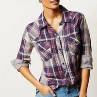 Checkmarked Buttondown by Anthropologie Blue Motif L Tops