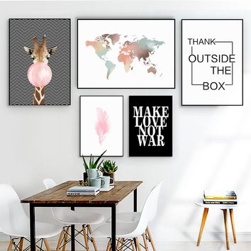 Watercolor World Map Giraffe Balloon Quote Nordic Posters And Prints Wall Art Canvas Painting Wall Pictures For Living Room