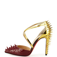 Christian Louboutin Goldocross Spike 100mm Red Sole Pump, Carmin