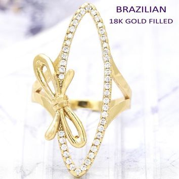 Gold Layered Women Bow Multi Stone Ring, with White Crystal, by Folks Jewelry