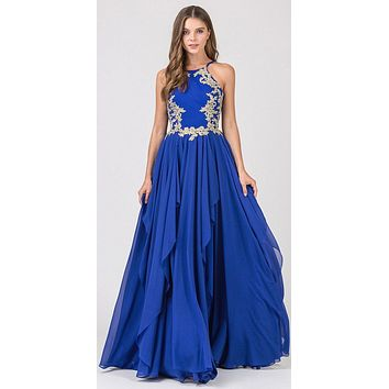 A-line Tiered Long Prom Dress Appliqued Bodice Royal Blue
