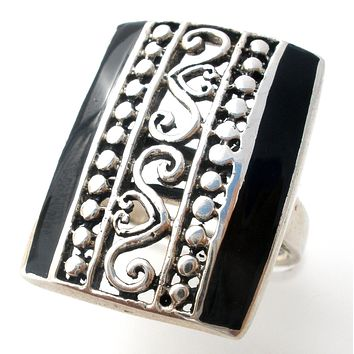 Sterling Silver Ring with Inlay Black Onyx Size 6.5