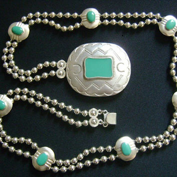 KJL Kenneth Jay Lane Two-Strand Ball Bead Chain Silvertone Decorated With Faux Turquoise Enamel Western Navajo Style Buckle Belt or Necklace