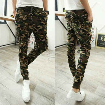 2014 men pant outdoors joggers camouflage harem pants sport jogging ,sweatpants drop crotch pants men [9305659911]