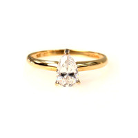 10k Gold Pear CZ Solitaire Ring Ice Drop
