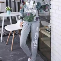 """Adidas"" Women Casual Letter Lotus Leaf Print Long Sleeve Hooded Sweater Set Two-Piece Sportswear"