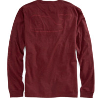 Vineyard Vines Long Sleeve Whale Heather Pocket T-Shirt- Crimson