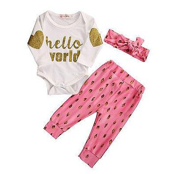 2016 New Newborn Baby Girl Clothes Hello World Romper+Pink Pants Headband 3pcs Outfit Set Kids Stuff