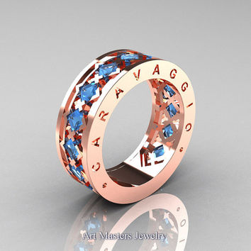 Caravaggio Mens Modern 14K Rose Gold Princess Blue Topaz Wedding Band  R313M 14RGBT