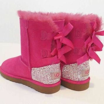 ICIK8X2 Swarovski Bailey bow ugg boots, girls pink Bailey bow uggs, bling uggs, custom uggs, S